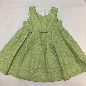 Trish Scully Green Floral embroidered dress 3T